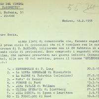 Lettera del Circolo Pasinetti ai soci, con l'elenco delle proiezioni del 1955  [ISMO, APCMO]