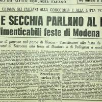 Articolo di Giornale sul comizio di Longo a Modena e di Secchia a Milano, 1950  [«L'Unità», 19 settembre 1950]