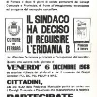 Volantino, 6 dicembre 1968 (da Processo all'Eridania, Documentario a cura di Renato Siiti, Editori Riuniti, 1970)