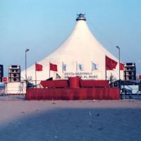 22 giugno-7 luglio 1985. Rimini-Miramare. Il tendone degli spettacoli sulla spiaggia