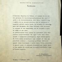 1977, documento relativo alla deistituzionalizzazione dell'Istituto Charitas, che come Villa Giardini, fu aperto in seguito alla legge Basaglia