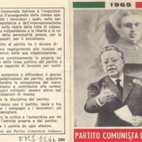 La tessera del PCI nel 1965