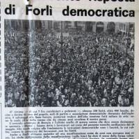 Il Forlivese, 11 giugno 1974, p. 1- articolo sulla manifestazione unitaria contro il terrorismo a seguito della strage di Piazza della Loggia a Brescia, 29 maggio 1974