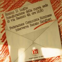 11 luglio 1986. Biglietto d'invito per l'inaugurazione della nuova sede della Federazione di Via Sacconi