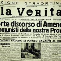 Il giornale della federazione modenese, «La Verità», racconta il Secondo congresso provinciale del PCI, alla presenza di Amendola  [«La Verità», 9 ottobre 1945]