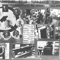 """""""I compagni della tipografia clandestina"""", cartellone realizzato dalla federazione comunista modenese in occasione di una commemorazione della Resistenza"""