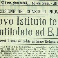 Nuovo istituto tecnico provinciale Fermi [L'unità, 31 dicembre 1957]