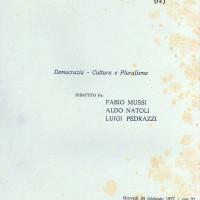 """Centro Gramsci, Ferrara, copertina della dispensa sull'incontro su """"Democrazie, cultura e pluralismo"""", dibattito fra Fabio Mussi, Aldo Natoli e Luigi Pedrazzi, tenutosi a Ferrara il 24 febbraio 1977"""