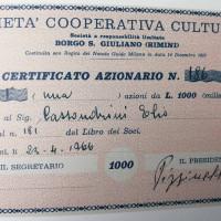 23 aprile 1966. Certificato azionario della Società Cooperativa Culturale Borgo San Giuliano (Rimini)