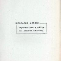 """Centro Gramsci, Ferrara, copertina della dispensa sull'incontro con Giancarlo Meroni """"Organizzazione e politica dei sindacati in Europa"""", tenutosi a Ferrara il 15 aprile 1976"""