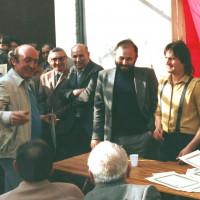 25 aprile 1983. Inaugurazione della sede della Sezione del PCI della Grotta Rossa. Da destra Silvano Lisi, il Segretario della Sezione Orazio Del Prete, il Segretario della Federazione Comunista Riminese Nando Piccari