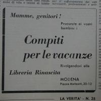 Pubblicità della Libreria Rinascita relativamente ai libri per le vacanze [La Verità, 12 luglio 1952]