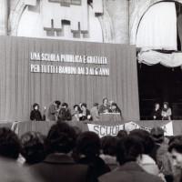 Archivio fotografico UDI Bologna. Manifestazione Una scuola pubblica e gratuita per i bambini da 3 a 6 anni, 1970