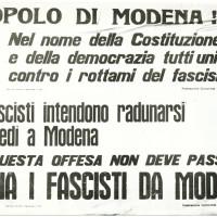 Manifesto della Federazione Comunista di Modena contro il raduno dell'Msi, Modena 1961 [ISMO, AFPCMO]