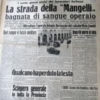 La Lotta, 3 giugno 1949, p.1- articolo sugli scontri fra Polizia e scioperanti durante la vertenza Mangelli del 1949, 2 giugno 1949