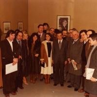 9 febbraio 1980. Rimini, Federazione del PCI in piazza Clementini. Il Segretario nazionale Enrico Berlinguer all'interno della Federazione con un folto gruppo di dirigenti comunisti riminesi
