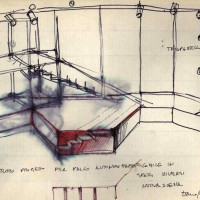 """www.archivio.francarame.it- spettacolo della compagnia """"Nuova Scena"""" alla Casa del Popolo di Sant'Egidio, bozzetti per l'allestimento di scena, 5 ottobre 1968"""