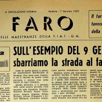 Numero de «Il Faro» con articolo dedicato ai morti del 9 gennaio 1950, 7 gennaio 1952 [ISMO, Archivio CGIL]