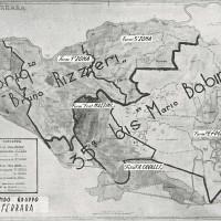 Carta topografica illustrante le zone di operazione delle varie formazioni partigiane nella provincia di Ferrara