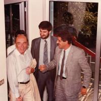 11 luglio 1986. Rimini, INA Casa. Da sin. l'on. Renato Zangheri, il tesoriere della Federazione Comunista Riminese Paolo Zaghini, il Segretario della Federazione Sergio Gambini