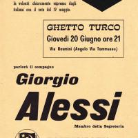 20 giugno 1968. Rimini, Ghetto Turco. Volantino per l'annuncio del comizio di Giorgio Alessi, membro della Segreteria della Federazione