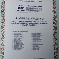 """1 giugno 1984. La pergamena con il ringraziamento a tutti i sottoscrittori dei fondi per la ristrutturazione della sede del PCI """"Mario Capelli"""" nel Borgo San Giuliano"""