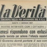 """""""I modenesi rispondono con entusiasmo all'appello lanciato per salvare l'infanzia napoletana"""" [""""La Verità"""", 11 gennaio 1947]"""