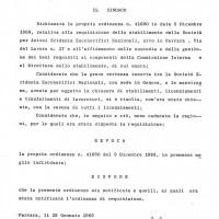 Delibera, 29 gennaio 1969 (da Processo all'Eridania, Documentario a cura di Renato Siiti, Editori Riuniti, 1970)